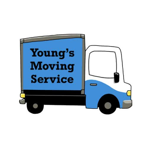 logo for youngs moving service in rogers ar